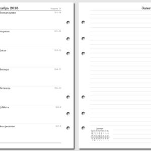 "Бланки ""Неделя на странице с заметкам"" для Filofax, 2018, Personal"